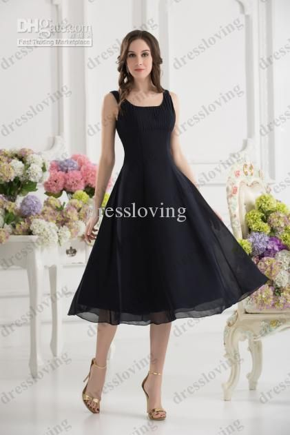 Wholesale Real Sample Customized Spaghetti Strap A-line Empire Black Tea-length Bridesmaid Dresses xyy07-018, Free shipping, $78.4-94.08/Piece | DHgate