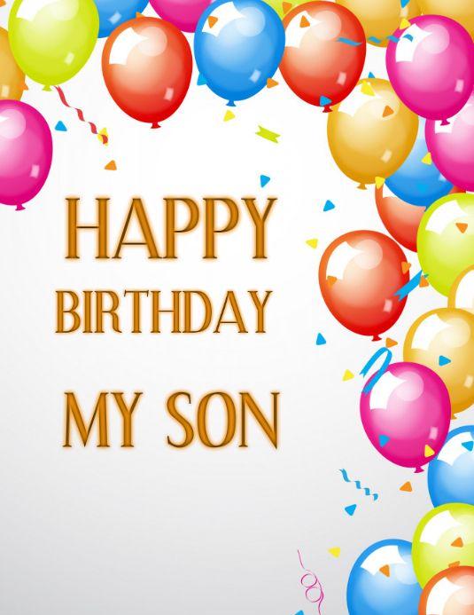 Birthday Template Birthday Card Template My Son Balloons Background Birthday Template Birthday Card Template Happy Birthday Signs