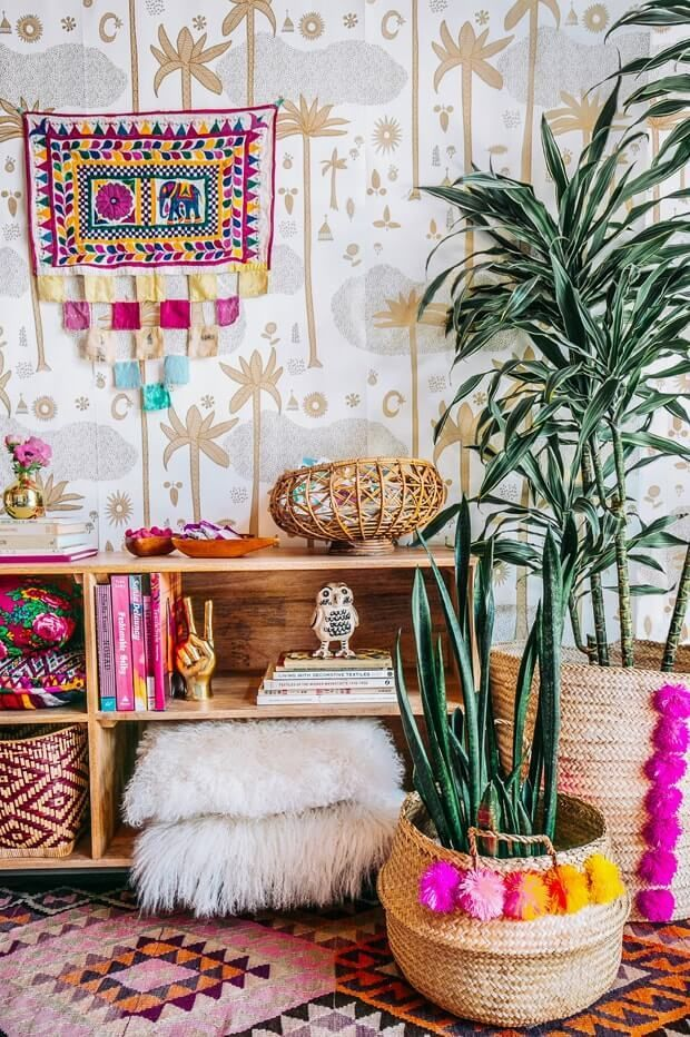 There are no rules when it comes to creating the perfect bohemian decor. Use bold colors, mixed patterns and with loads of accessories!
