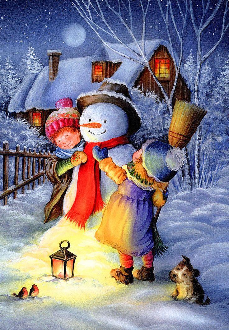 Рождественские рисунки картинки, лес анимашки смешные