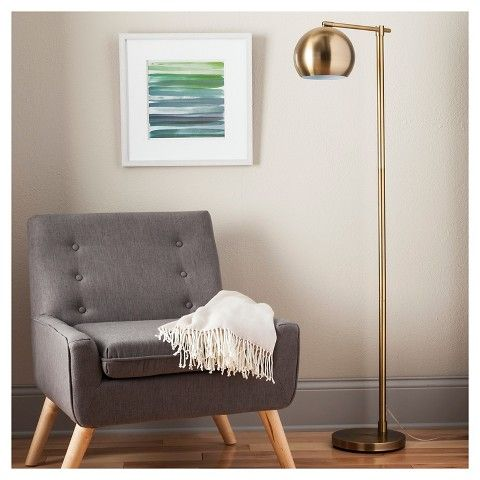 Modern Globe Floor Lamp Brassy Gold ThresholdTM