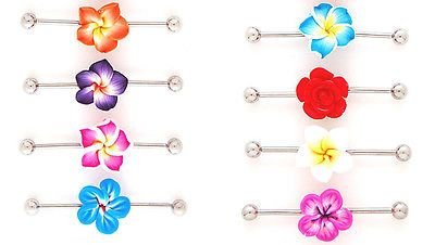 "6pcs Tropical Flower Industrial Bar Barbells 1.5"" Wholesale Body Jewelry (ib13)"