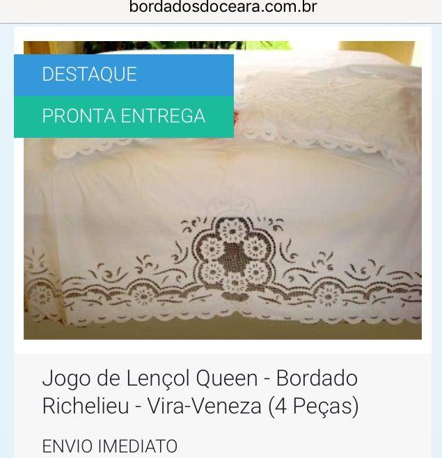 😀👍 ENVIO IMEDIATO - Poucas unidades !!! Corra 🏃 👉 JOGO DE LENÇOL QUEEN - BORDADO RICHELIEU - VIRA-VENEZA (4 PEÇAS). 👉 1 Lençol Vira Queen. 👉 2 Fronhas. 👉 1 Lençol de Baixo com bainha. 👉 Bordado na Linha 100% Algodão. 👉 Tecido Percal 230 Fios - 100% Algodão Branco.  💻 http://www.bordadosdoceara.com.br/produtos/cama/jogo-de-lencol-queen-bordado-richelieu-vira-veneza-4-pecas-detail.html  📱 WhatsApp 85 98959.9107