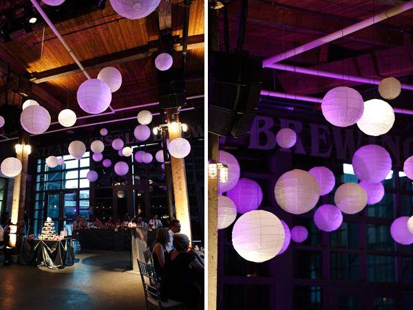 lit paper lanterns purple wedding hanging decoration