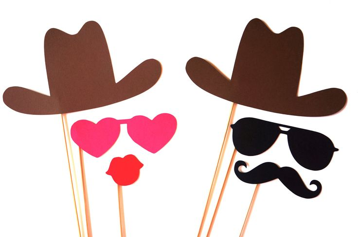 Photo Booth Props - The Cowboy and Cowgirl Collection - 6 piece prop set - Birthdays, Weddings, Parties - Photobooth Props. $16.00, via Etsy.