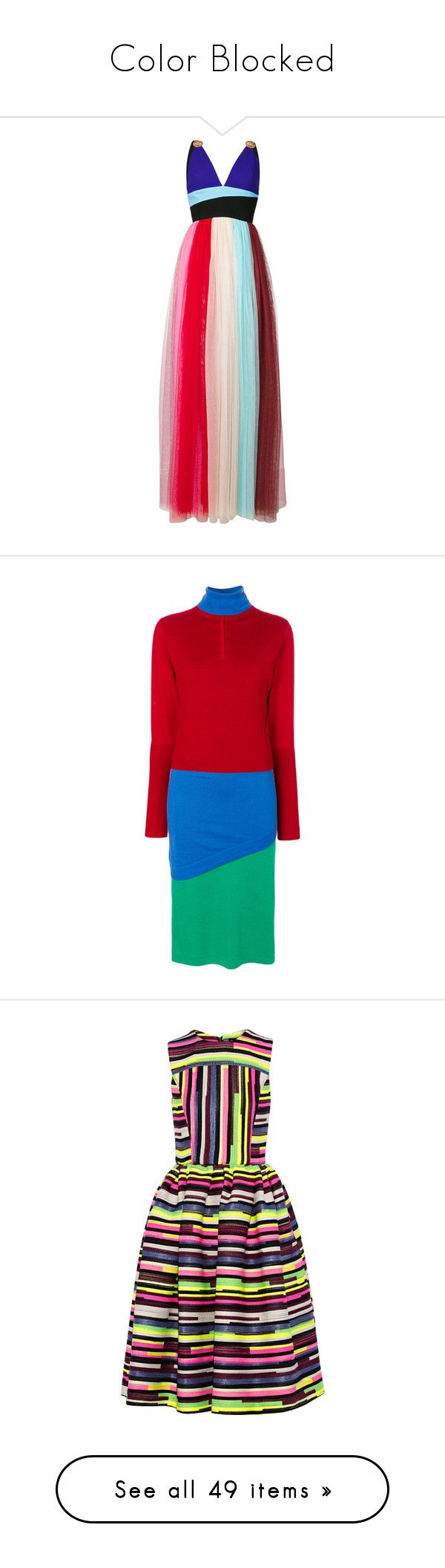 """Color Blocked"" by lacie-nicole ❤ liked on Polyvore featuring dresses, multicolour, fausto puglisi, block print dresses, multi-color dress, colorblock dress, multi coloured dress, colorful dresses, multicolor dresses and long sleeve colorblock dress"