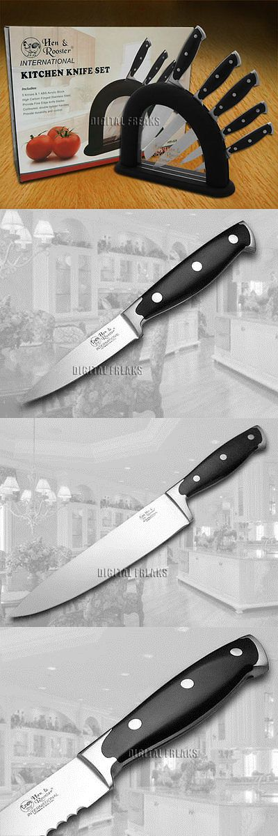 Kitchen and Steak Knives 177005: Hen And Rooster And 6 Piece Black Synthetic Kitchen Cutlery Knives Knife Set -> BUY IT NOW ONLY: $64.95 on eBay!