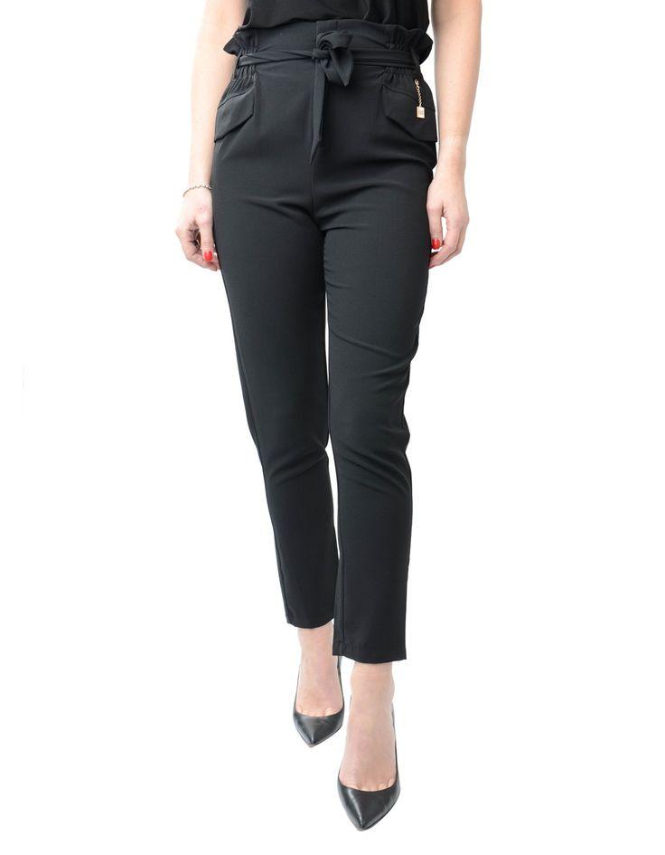 Silvian Heach Black Aniser High Waisted Pants | Accent Clothing