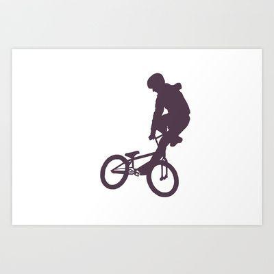 Grey BMX Rider Art Print by Dawn OConnor - $50.96