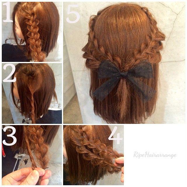 いいね!103件、コメント11件 ― Airi Masudaさん(@airi0911)のInstagramアカウント: 「簡単ハーフアップ ①サイドの上の髪を三つ編みして編み目をくずす。 ②①を上で仮止めして、三つ編みのすぐ下のところをねじる。 ③三つ編みとねじった髪を一緒に結ぶ ④ねじったところをくずす。逆も同じ。…」