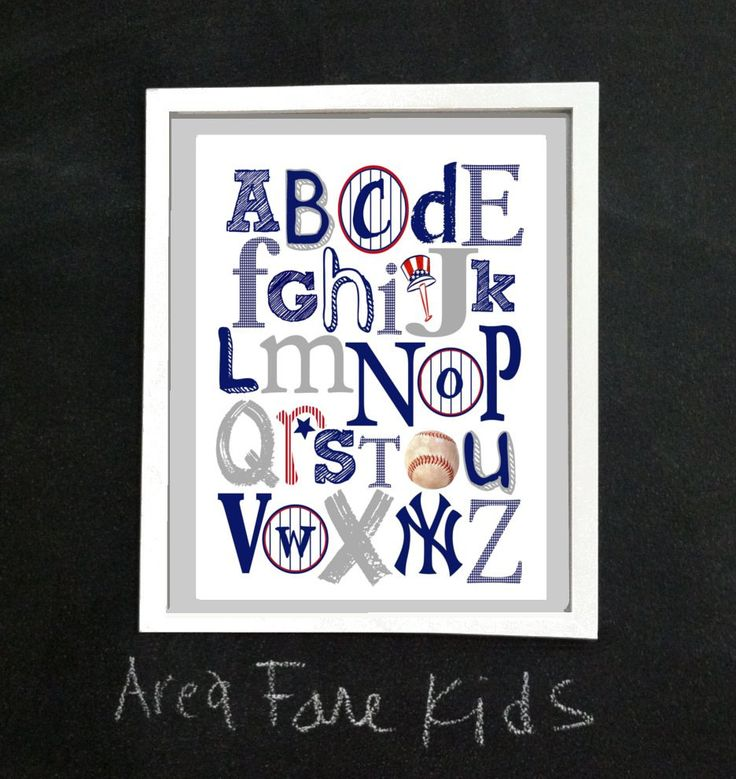 8 x 10 NY YANKEES ABC Nursery Art Print. $15.00, via Etsy. No Brewers or Mariners but wonder if they could be made?