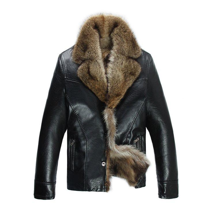 Новая мода Осень зима мужская кожаная шуба куртка мех енота черные кожаные куртки для мужчин Челнока Размер M 5XL купить на AliExpress