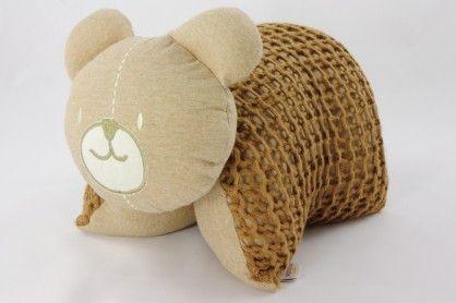 Knitted Bear Cuddle Pillow Brown #OrganicCottonSoftToys  http://www.vanillababy.com.au/shop/soft-toys/knitted-bear-cuddle-pillow-brown/