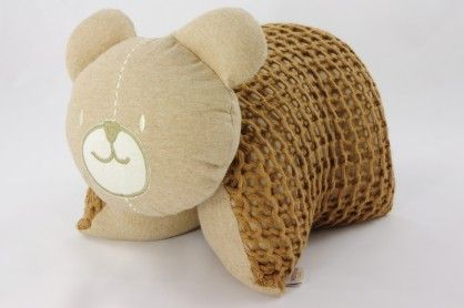 Knitted Bear Cuddle Pillow Brown #OrganicCottonSoftToys  http://www.vanillababy.com.au/shop/soft-toys/knitted-bear-cuddle-pillow-brown/