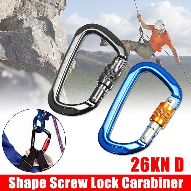 26KN 2600kg D Shape Heavy Duty Camping Climbing Rope Rappelling Carabiner Snap Spring Clip Hook Karabiner