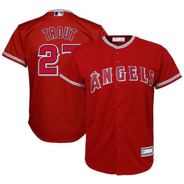 Mike Trout Los Angeles Angels Youth Player Replica Jersey – Red ...