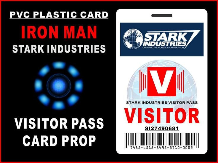 Iron Man Stark Industries Visitor Pass Id Card Prop  Pvc
