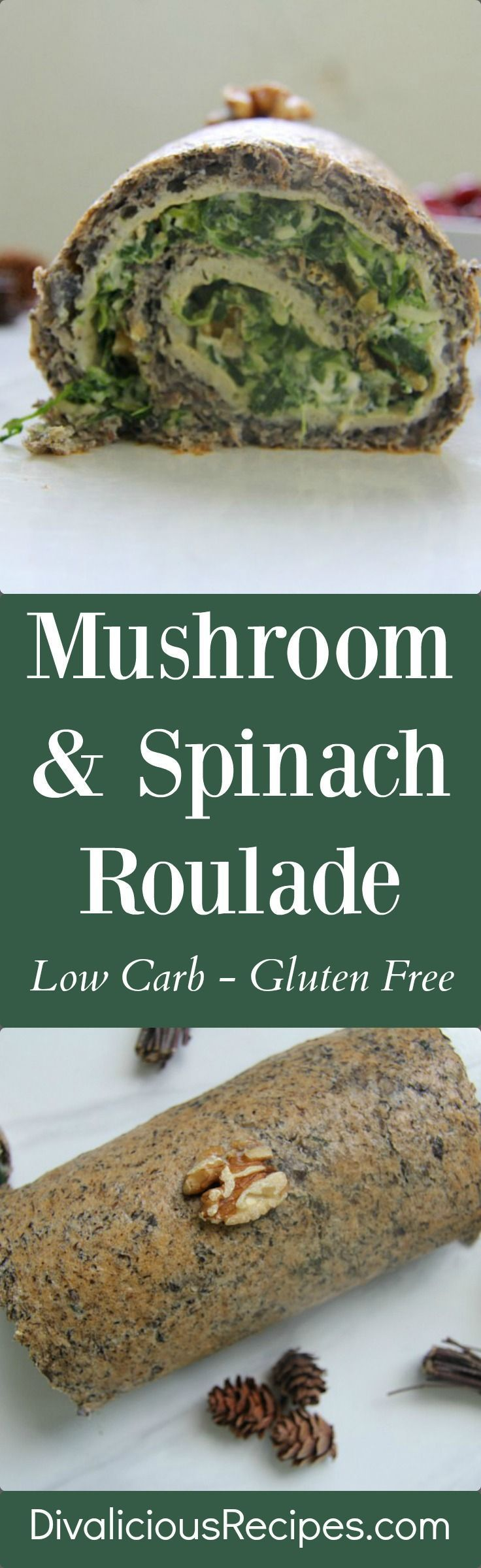 A great vegetarian roulade with mushrooms and a filling of spinach and walnuts. An easy healthy main dish.