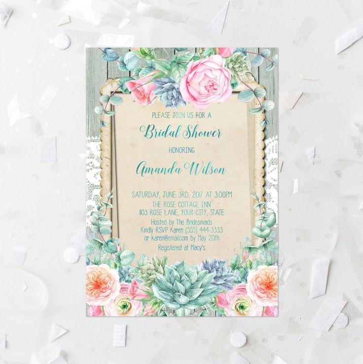 Rustic Bridal Shower Invitation Wood Floral Bridal