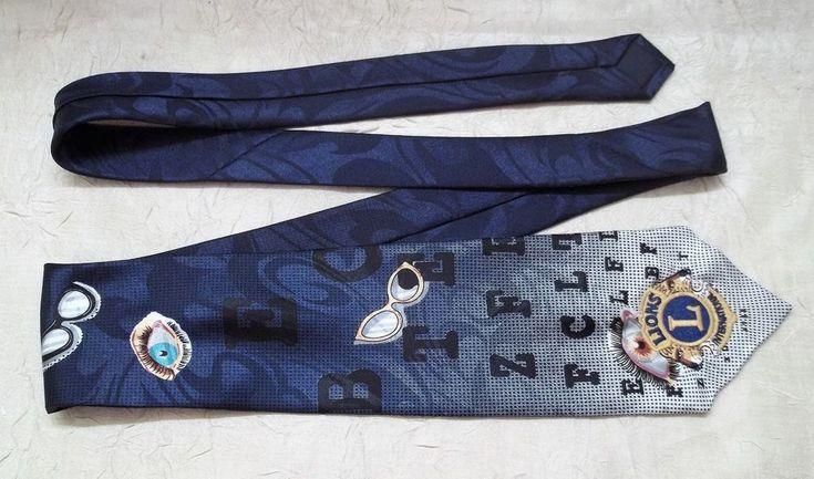 Lion's Club International Embroidered Men's Necktie w/ Vision Screening/Eye Wear
