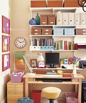 "How to Beat Clutter in the Home Office.  Tips on organising paperwork... such as the tried-and-true ""touch it once"" rule - once you touch a piece of paper, either act on it, file it, or throw it away.  I need to remember this! =)"