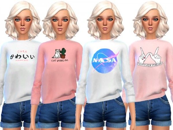 The Sims Resource: Tumblr Themed Sweatshirts by