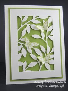 Framed Little Leaves Sizzlit (SU) die cuts (try with MB)