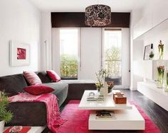 Living Room Amazing Small Decor Ideas Photos With Red Damask Fabric Rug Also