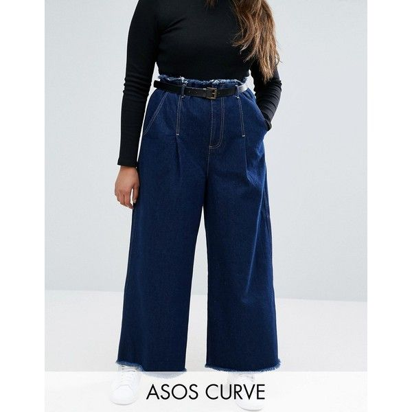 ASOS CURVE Belted Wide Leg Jeans With Raw Hem ($52) ❤ liked on Polyvore featuring jeans, blue, plus size, womens plus size jeans, plus size tall jeans, high rise wide leg jeans, tall jeans and relaxed jeans