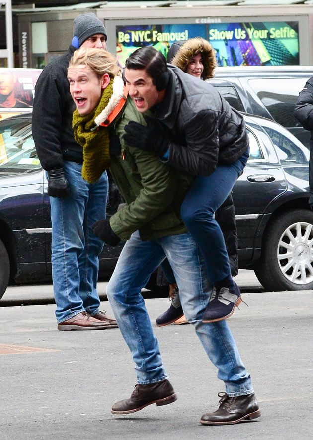 Chord Overstreet and Darren Criss Film Glee Season 5, Episode 16 on March 13, 2014