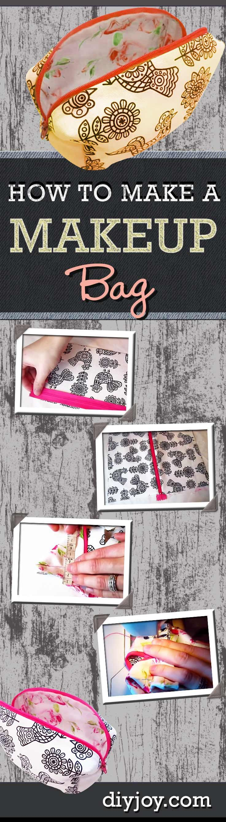 DIY Makeup Bag Tutorial and Step by Step Instructions - Cool Crafts for Teens | DIY Makeup Bag Tutorial | Easy Sewing Project for Beginners | DIY Projects & Crafts by DIY JOY at diyjoy.com/...