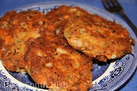 Salmon Patties with onion, bay seasoning or Cajun seasoning can add flour, corn meal in place of crackers - fry to golden brown in very small amt of oil