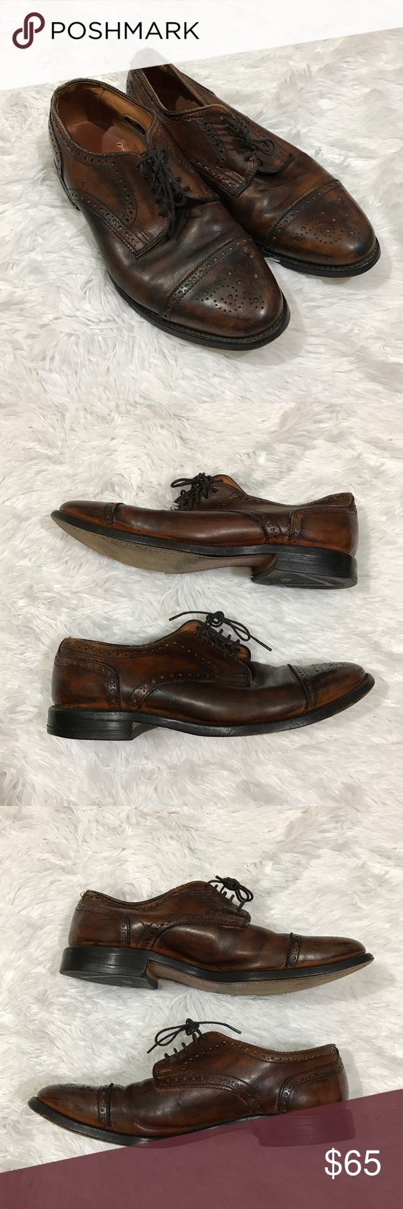 """Allen Edmonds Sanford men's oxfords sz 8.5 brown These Men's Allen Edmonds """"Sanford"""" oxfords are a perfect classic work dress shoe.  They are a men's size 8.5 and they are a two tone oiled leather look in good preowned condition with light overall wear and a couple small scuffs (see images for details).  Retails for $345 new! Allen Edmonds Shoes Oxfords & Derbys"""