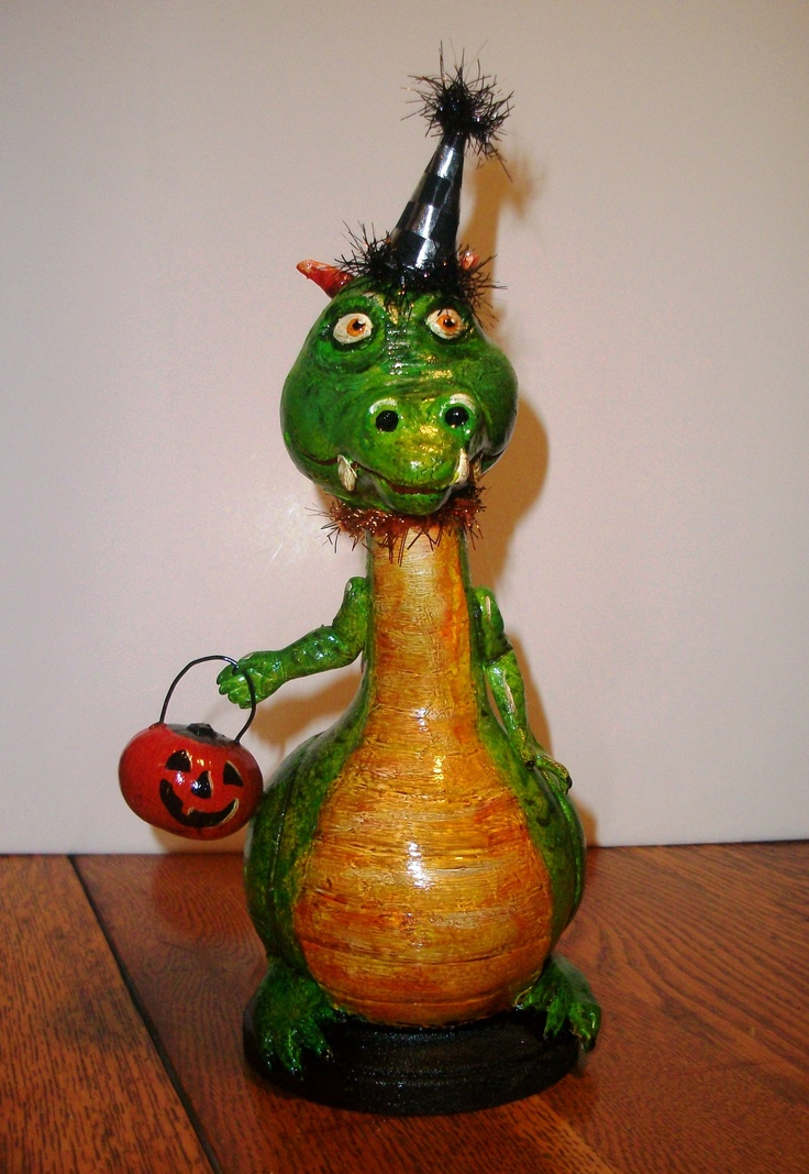 Halloween Gourd Dragon: crafted from a dipper and Tennessee spinner gourds with airdry clay. Handpainted in Ohio