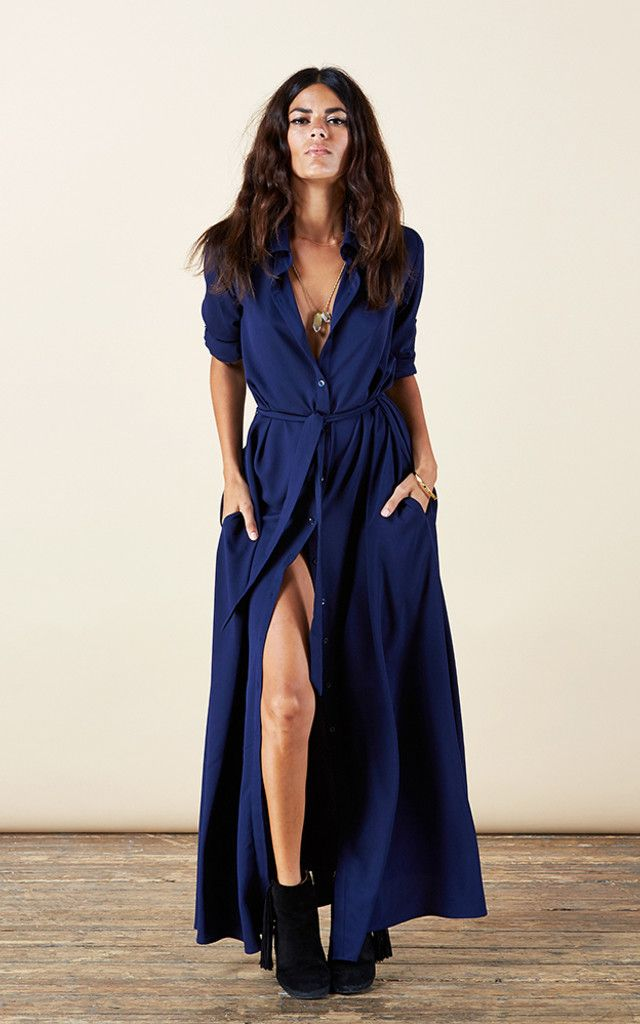 Maxi Shirt Dress in Navy - SilkFred