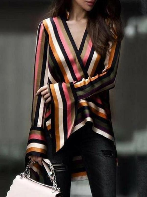 Fashion Business Slim Strip V Collar Long Sleeve Blouse