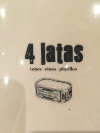 4 LATAS Calle Muntaner, 211 08036 Barcelona Telf: 93 189 31 22. Recomiendo los dos tartares: de atún y de salmón, la tortilla, el foie, el bikini y la tarta de queso. El mojo fantástico,  pero corto.