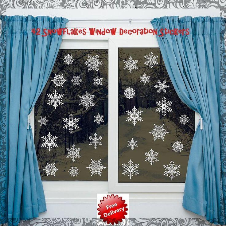 Christmas Window Decorations Pvc Stickers 42 Pieces Of Snowflake Design No Glue #ChristmasWindowDecorations