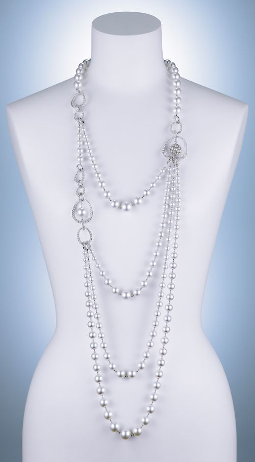 Cultured pearls and diamond mirror balls on this Mikimoto necklace