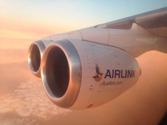 SA Airlink engine in flight, bathed in sunlight. Via @WeszMadz