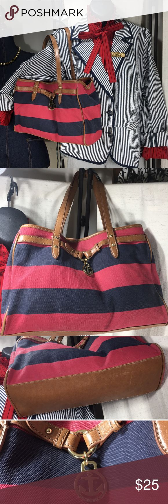 "Tommy Hilfiger Rugby Striped Nautical Purse Tommy Hilfiger Rugby Nautical Purse measures 13"" x 9.5"", strap measures 20"". Imitation leather. Some fading and wear. Tommy Hilfiger Bags Shoulder Bags"