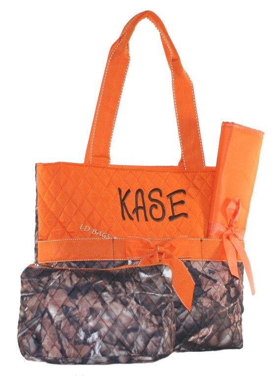 Personalized Camo Diaper Baby, Boys Diaper Bag, Camo Diaper Bag, Girls Diaper Bag, Mens Diaper Bag,  Woods Camo Orange Trim by MonogramExpress on Etsy https://www.etsy.com/listing/162391384/personalized-camo-diaper-baby-boys