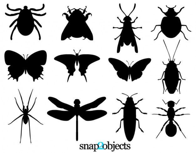 Silhuetas insetos e carrapato