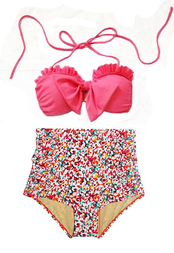 Pink Bow Top and Flora High Waisted Waist Shorts Bottom Swimsuit Swimwear Bikini Bathing suit Woman Womens Lady Adult Female Girl S M on Etsy, $39.99