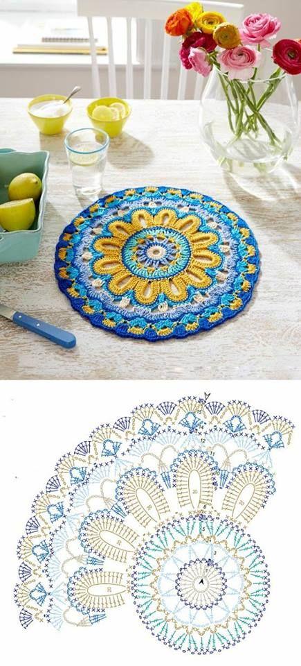 Crochet pattern for a colourful mandala