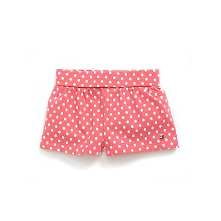 pink + white polka dot shorts