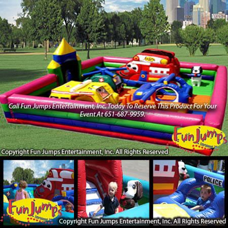 Rescue Heroes Playland Slide Combo Minnesota Inflatable Party Rental Minneapolis MN Inflatables Rentals Event
