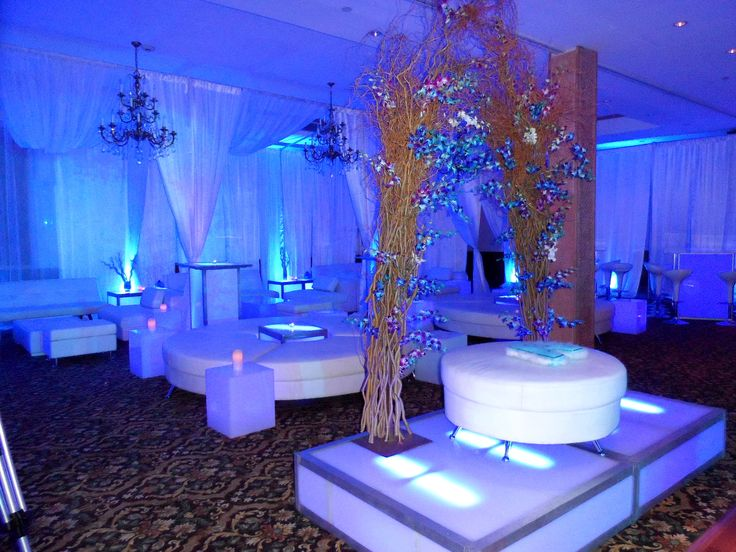 Nice FULL ROOM CABANAS AND LOUNGE FURNITURE, LIGHTED STAGE WITH TREE ACCENTS