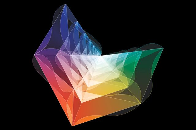 Artist's rendering of the amplituhedron, a newly discovered mathematical object resembling a multifaceted jewel in higher dimensions. Encode...