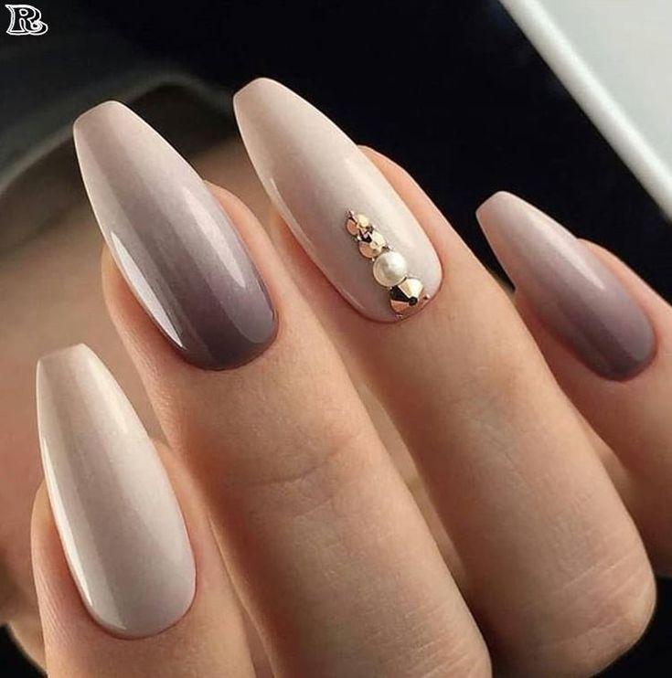French ze złotem | Almond nail art, Almond nails, Cute